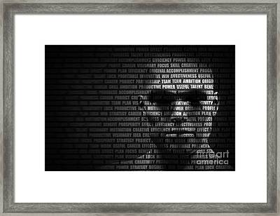 Man Face Blended With Flowing List Of Motivational Words Framed Print