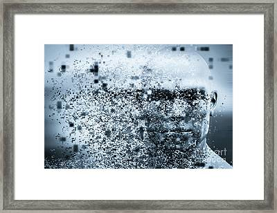 Man Face With Pixel Dispersion Effect. Concept Of Technology, Modern Science But Also Disintegration Framed Print by Michal Bednarek