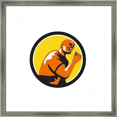 Man Fist Pump Low Angle Retro Framed Print