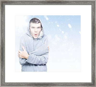 Man Freezing In Cold Winter Snow Framed Print