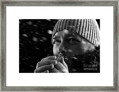 Man Freezing In Snow Storm Bw Framed Print by Simon Bratt Photography LRPS
