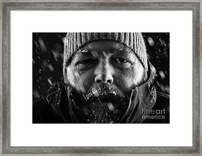 Man Freezing In Snow Storm Close Up Framed Print by Simon Bratt Photography LRPS