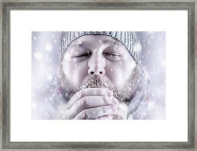 Man Freezing In Snow Storm White Out Close Up Framed Print