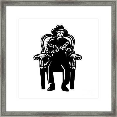 Man Gagged Chained To Grand Arm Chair Woodcut Framed Print by Aloysius Patrimonio
