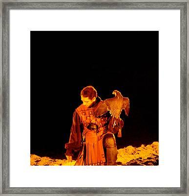 Man Holding An Eagle Framed Print by Art Spectrum