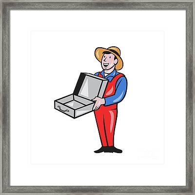 Man Holding Empty Open Suitcase Cartoon Framed Print by Aloysius Patrimonio