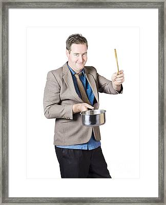 Man Holding Saucepan And Spatula Framed Print