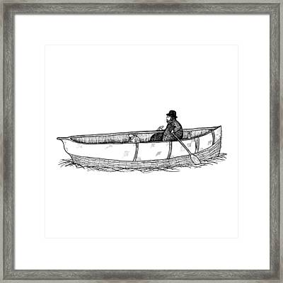Man In A Boat With His Dog Framed Print