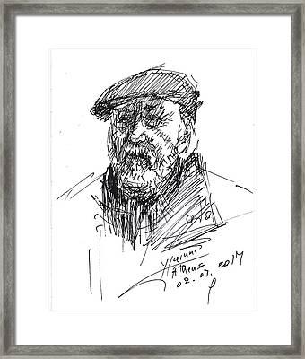 Man In A Hat Framed Print by Ylli Haruni