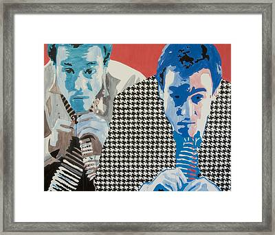Man In A Houndstooth Suit Framed Print by Pete Nawara