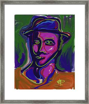 Man In Blue Hat Framed Print by Russell Pierce