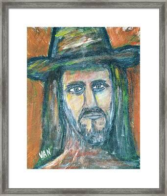 Man In Hat Framed Print by Van Winslow