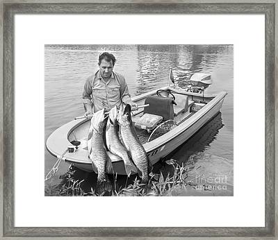 Man In Motorboat On Lake Framed Print by H. Lefebvre/ClassicStock