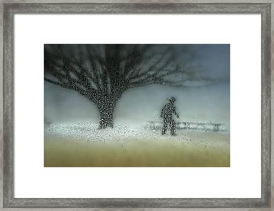 Man In Nature - Winter Framed Print