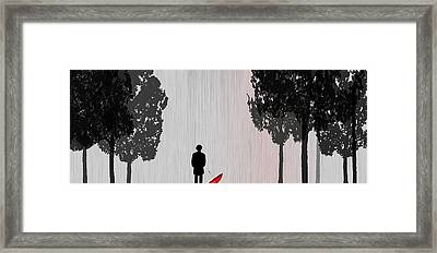 Man In Rain Framed Print