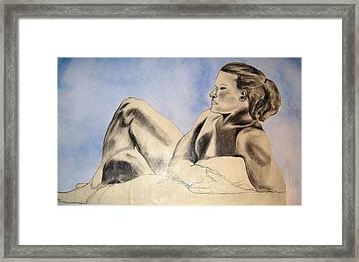 Man In Recline Framed Print by Angela Murray