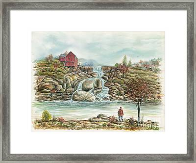 Man In Red Fishing By A Waterfall Framed Print by Samuel Showman