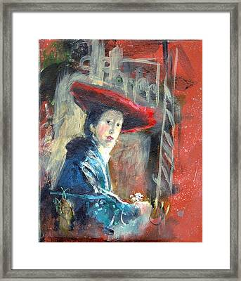 Framed Print featuring the painting Man In Red Hat After Vermeer by Gertrude Palmer