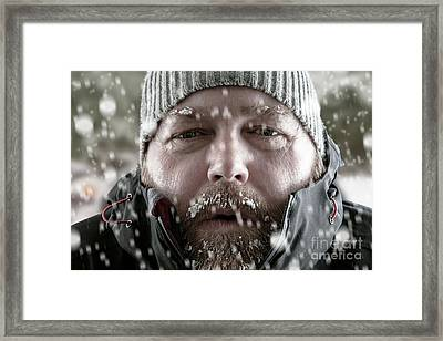 Man In Snow Storm Close Up Framed Print