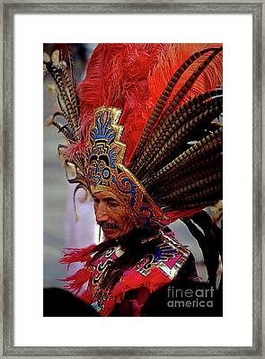 Man In Traditional Headdress To Celebrate The Day Of The Virgin Of Guadalupe On December 12th In Mexico City Framed Print by Sami Sarkis