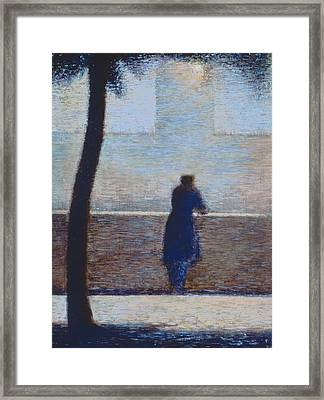 Man Leaning On A Parapet Framed Print by Georges Pierre Seurat