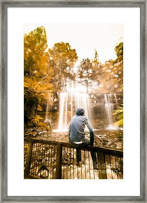 Framed Print featuring the photograph Man Looking At Waterfall by Jorgo Photography - Wall Art Gallery