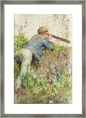 Framed Print featuring the painting Man Looking Through A Telescope by Henry Scott Tuke