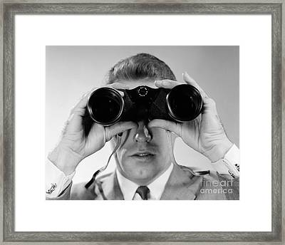 Man Looking Through Binoculars, C.1960s Framed Print by H. Armstrong Roberts/ClassicStock