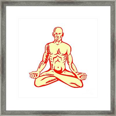 Man Lotus Position Asana Woodcut Framed Print