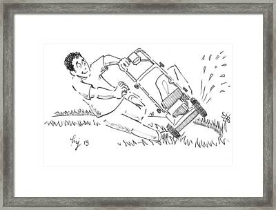 Man Mowing The Lawn Cartoon - Speed Mower Framed Print by Mike Jory