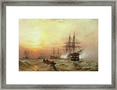Man-o-war Firing A Salute At Sunset Framed Print by Claude T Stanfield Moore