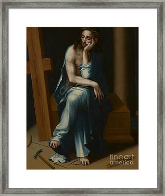 Man Of Sorrows Framed Print by Luis de Morales