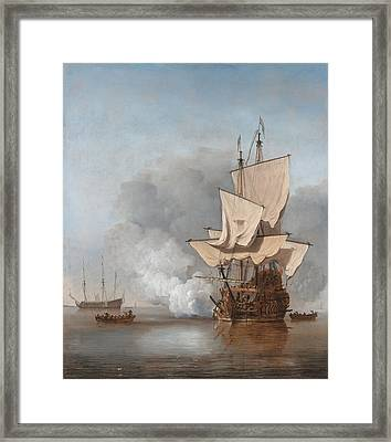 Man-of-war Firing A Cannon Shot  Framed Print by War Is Hell Store