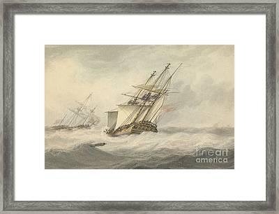 Man Of War In Full Sail, Framed Print