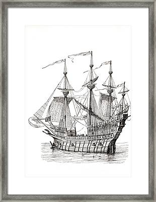 Man-of-war Which Carried King Henry Framed Print by Vintage Design Pics