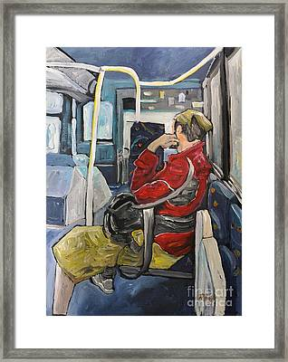Man On 107 Bus Verdun Framed Print by Reb Frost