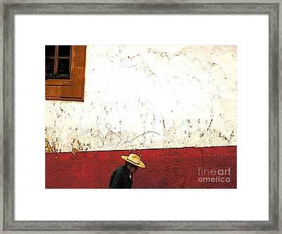Man On A Patzcuaro Street Framed Print by Mexicolors Art Photography