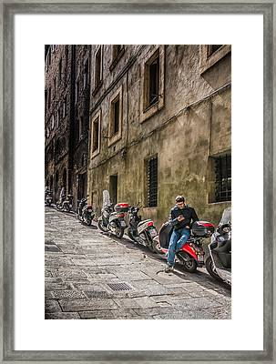 Man On A Scooter Siena-style Framed Print