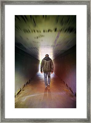 Man On A Tunnel Framed Print by Carlos Caetano