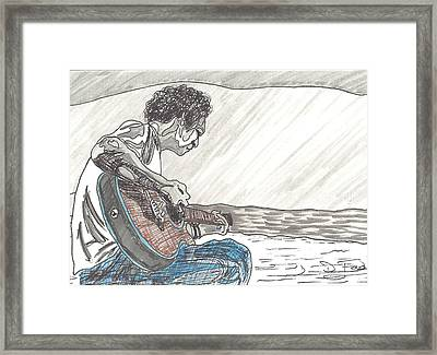 Man On Beach Framed Print by David Fossaceca