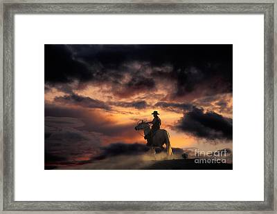 Man On Horseback Framed Print by Ron Sanford and Photo Researchers