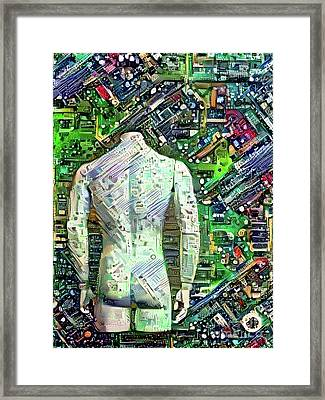 Man On Motherboard Framed Print by Amy Cicconi