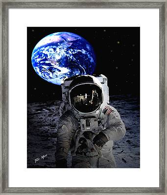 Man On The Moon Framed Print by Tray Mead