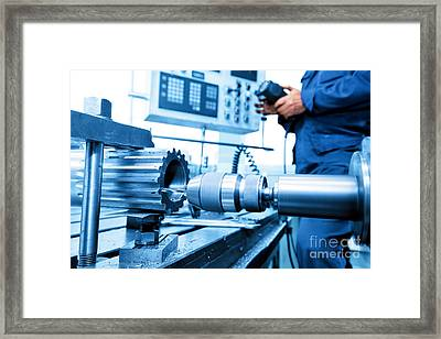 Man Operating Cnc Drilling And Boring Machine Framed Print by Michal Bednarek