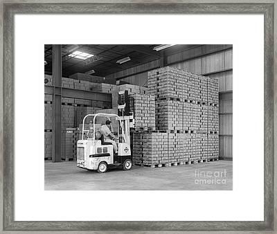 Man Operating Forklift, C.1960s Framed Print