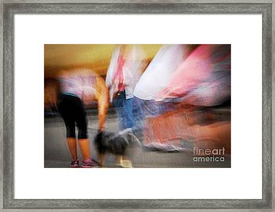 Woman Playing With Dog Framed Print