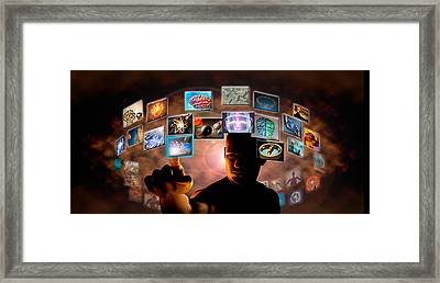 Man Pointing To Screen Squares Framed Print by Panoramic Images