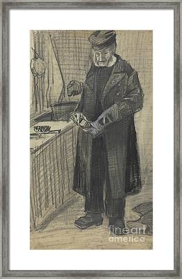 Man Polishing A Boot, 1882  Framed Print
