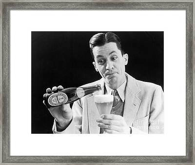 Man Pouring A Glass Of Beer, C.1930s Framed Print