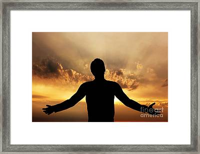 Man Praying Meditating In Harmony And Peace At Sunset Framed Print